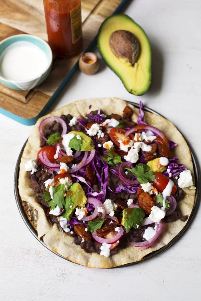 Oaxaca Tlayudas dish
